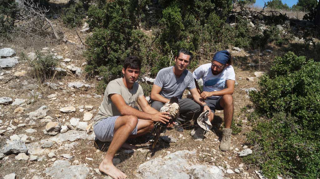 The rescue team of BSPB and Doga Dernegi who found Anna exhausted in southern Turkey. Photo: Doga Dernegi