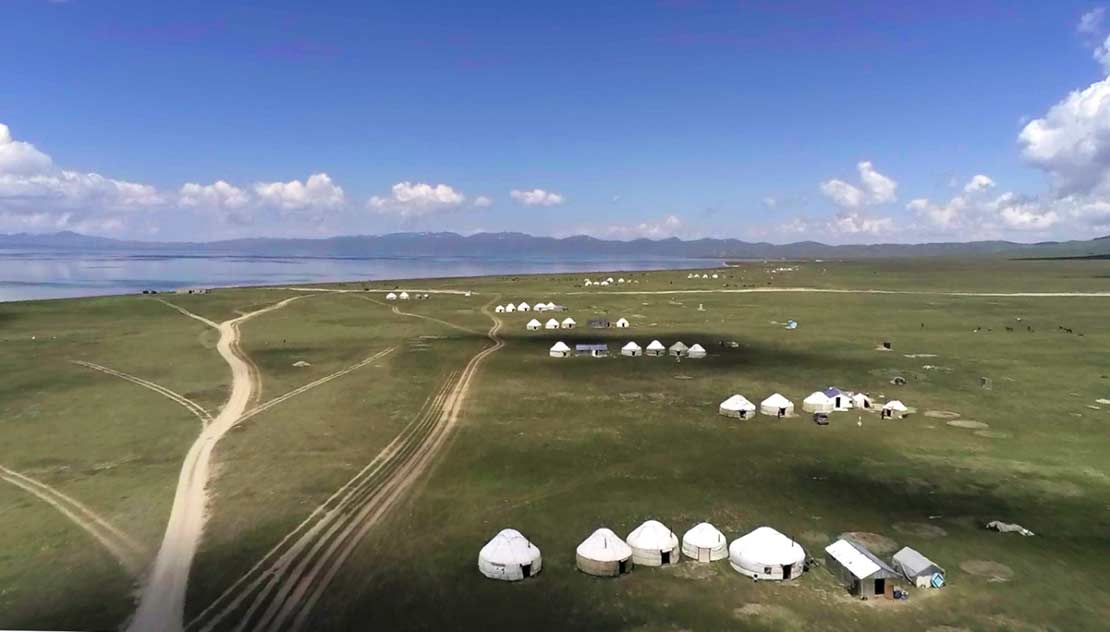 Yurt camps at the edge of the lake