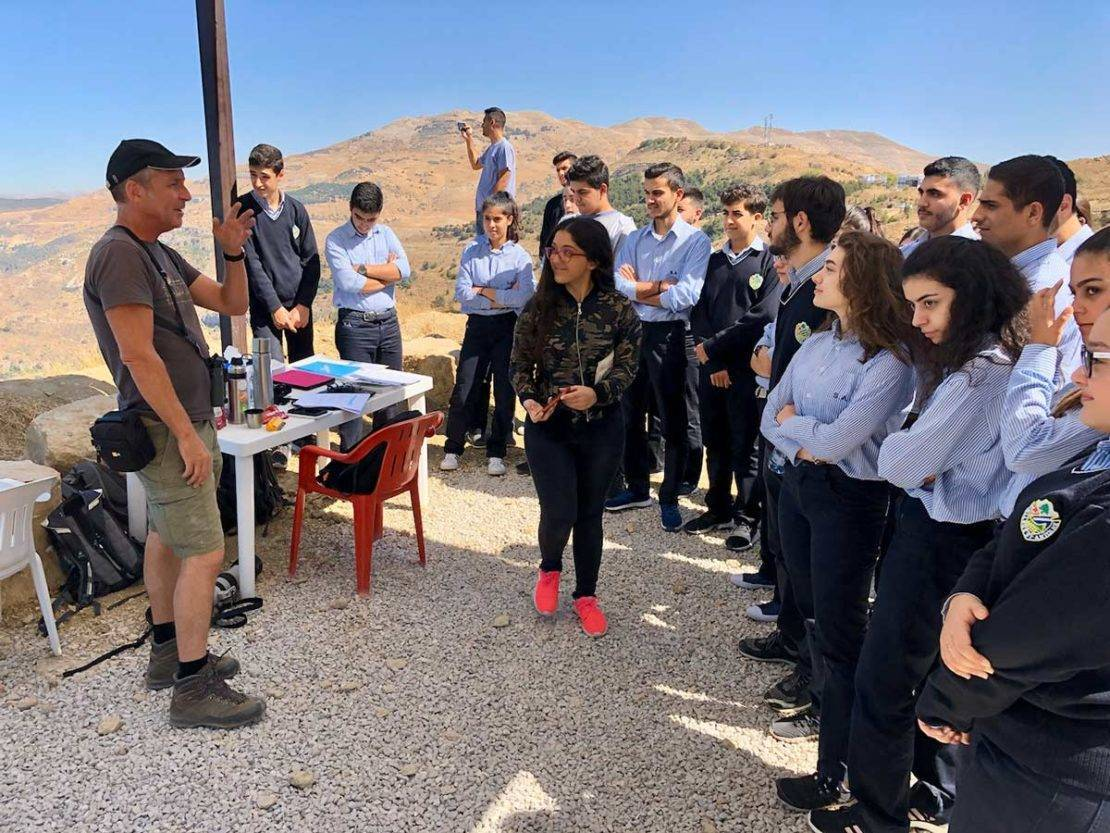 Plate 3. A local school visit to the raptor count watch-point at Ras-al-Maten, Lebanon in September 2019. © SPNL