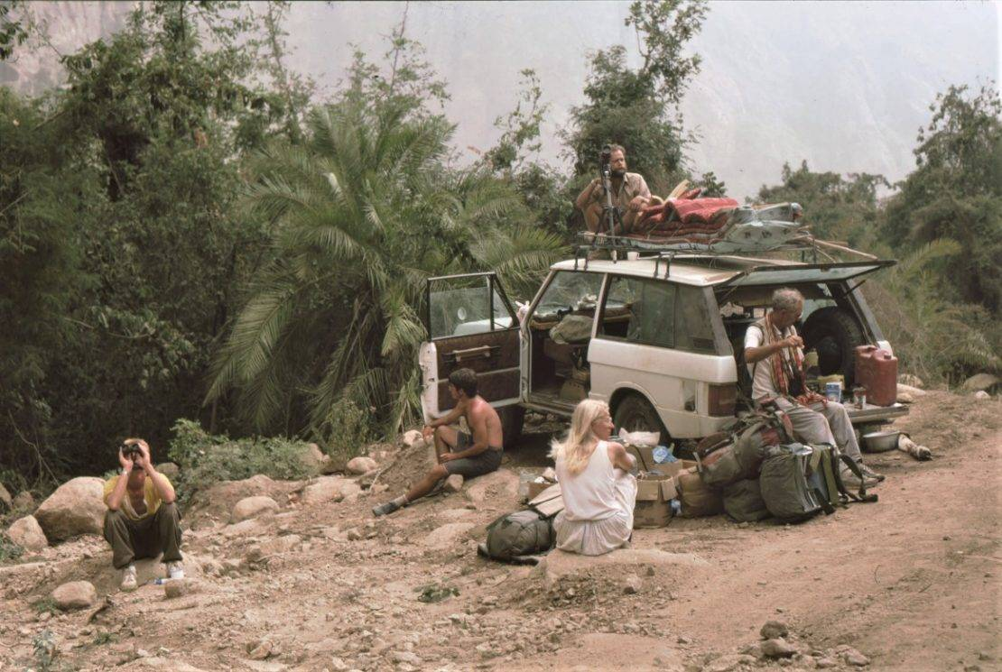 Members of the OSME expedition to Yemen in 1985 some watching birds others resting by their jeep